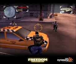 Freedom Fighters, an action based single player video game, featuring fighting shooting and running sprite.