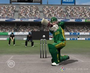 Cricket 07, Ea Sports, A single player Cricket Game for pc, player playing shot